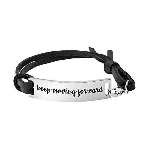 Yiyang Keep Moving Forward Bracelet Birthday Gifts for Women Positive Vibes Hand Stamped Leather Wrap Cuff Bangle