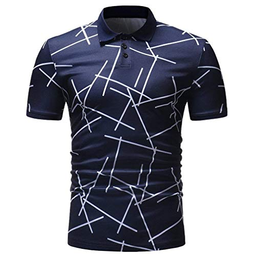 Poloshirt heren zomer gestreept print jongens T-tops korte mouwen shirt Daily uitgaan casual oversize bovenstuk basic