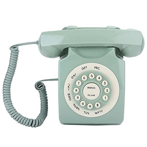 ELKeyko Antiguo European Vintag Landline Teléfono Verde Alta Definición Call Gran Botón Claro Telefono
