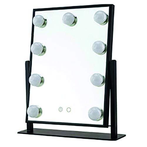 LYVION Make-up spiegel metaal met dimbaar LED verlichting en touch screen - Verstelbaar in 3 wit kleuren - 25 x 30cm - LED spiegel - Energiezuinige - Zwart - Visagie make-up spiegel