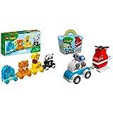LEGO Duplo Il Treno Degli Animali Con Elefante, Tigre, Panda E Giraffa & Duplo Elicottero Antincendio E Auto Della Polizia, Costruzioni Per Bambini 1,5 Anni