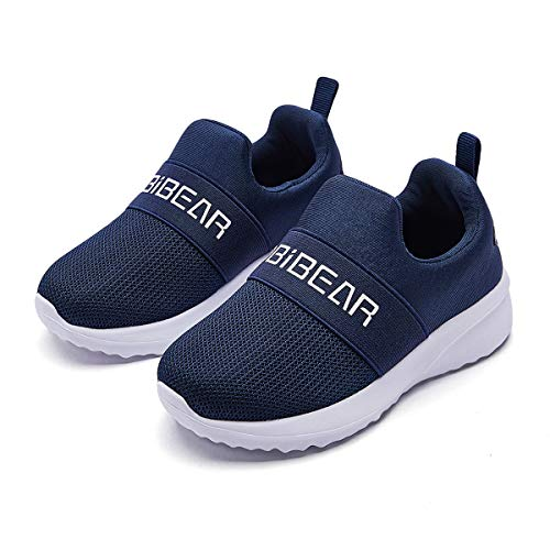 WZHKIDS Kids Slip-on Sneakers Boys Girls Athletic Running Shoes Mesh Breathable Lightweight(Toddler/Little Kid) (Blue, Numeric_8_Point_5)