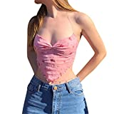 Crop Top sin mangas con encaje para mujer sexy cuello en V chaleco Dentro Chic Vintage Casual Verano Marrón, Rosa, L