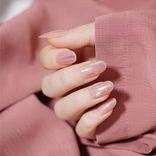 Sethexy Oval Rosa Falsche Nägel Bling Glänzend Falsche Fingernägel 24St Mittel Salon Vollständige Abdeckung Acryl Kunstnagelspitzen für Frauen und Mädchen