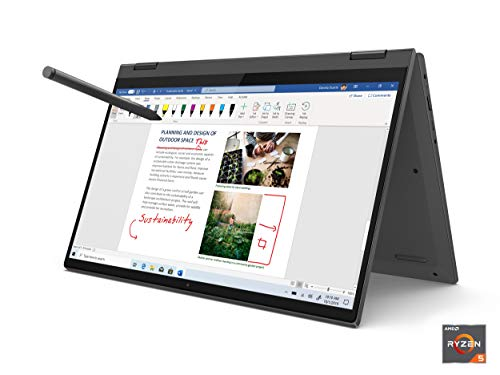 Lenovo Flex 5 14 2-in-1 Laptop, 14.0 FHD (1920 x 1080) Touch Display, AMD Ryzen 5 4500U Processor, 16GB DDR4, 256GB SSD, AMD Radeon Graphics, Digital Pen Included, Win 10, 81X20005US, Graphite Grey
