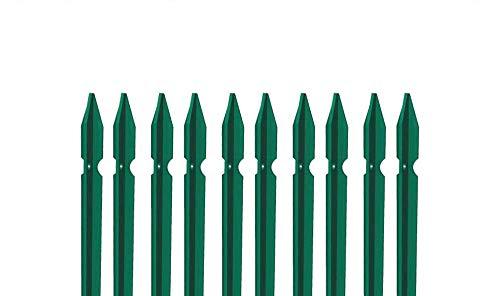 10 PZ Palo paletto in ferro a T 30x30x3 mm plastificato verde per rete recinzione metallica TUTTE LE MISURE - MADE IN ITALY (H 250 cm)