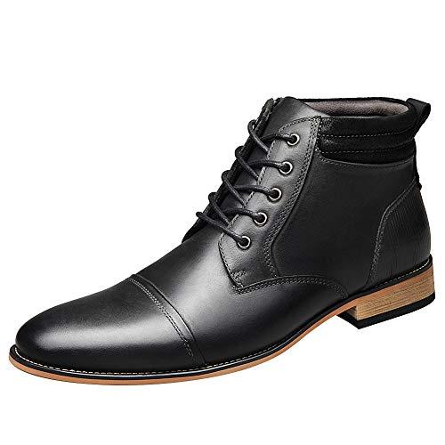 ANUFER Herren Vintage Schnüren Leder Stiefeletten Reißverschluss Formell Abendschuhe Schwarz SN01825 EU45