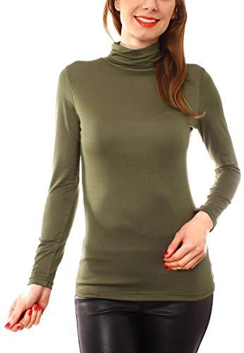 Easy Young Fashion Basic Damen Rollkragen Jersey Shirt Unterzieher Longsleeve Enganliegend Langarm Einfarbig One Size Olive