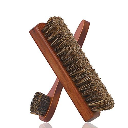 QKFON Caballo Mane cepillo para zapatos, natural madera maciza cepillo de madera mango de madera limpiador de cuero utilizado para cuidado de cuero herramienta limpia