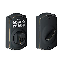 Schlage Camelot Aged Bronze Keypad Deadbolt, home security, smart home, best keyless entry door locks, best smart door locks, best electronic door locks