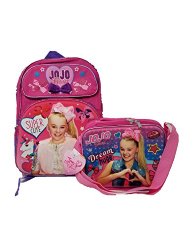 JOJO Siwa In Glitter Backpack + 3D Lunch Box Bundle by RUZ: Zippered Girls' Backpack + Matching Insulated 3D Lunch...