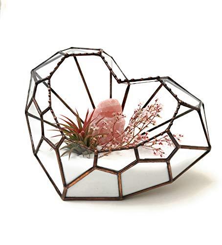 Lekoky Love Heart Terrarium en Verre géométrique Motif cœur Fait Main en Angleterre, Verre, Rustic Copper, Taille M