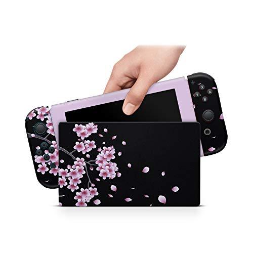 46 North Design Switch Skin für Konsole und JoyCons, gleiche Abziehbildqualität für Autos, Kirschbaum Sakura-Wein Pastell Rose Kawaii Anime, Hochwertig, Langlebig, Blasenfrei, Hergestellt in Kanada
