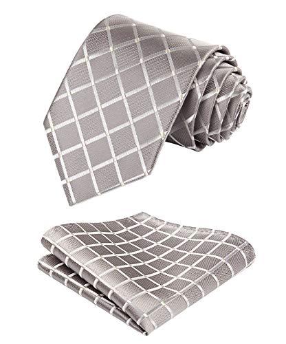 HISDERN Herren Krawatte Taschentuch Check Krawatte & Einstecktuch Set Beige & Weiß