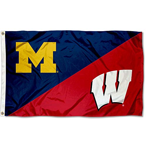 Michigan vs Wisconsin House Divided 3x5 Flag Rivalry Banner