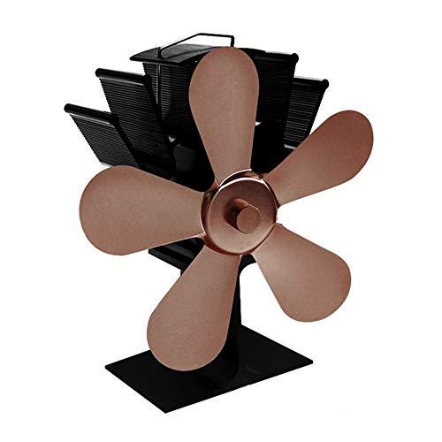 Womdee Kaminventilator mit 5 Flügeln, umweltfreundliches Aluminium, wärmeaktivierter Ventilator für Kamin, wärmebetriebener Ofenventilator für Holz/Kamin, keine Stromversorgung erforderlich
