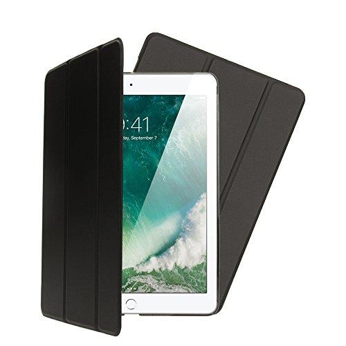 NALIA Custodia compatibile con iPad 9,7 ' 2017/2018, Cover Ultra-Slim Smart-Case Protettiva Stand-Fold Eco-Pelle Vegan Fronte, Tablet Bumper Sleeve Copertura Protezione Sottile, Colore:Nero