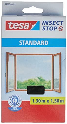 tesa Insect Stop STANDARD Fliegengitter für Fenster - Insektenschutz zuschneidbar - Mückenschutz ohne Bohren - 1 x Fliegen Netz anthrazit - 130 cm x 150 cm