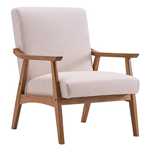 K KYMYCraft Armrest Sofa Chair, Wood Frame with Thick Fabric Cushions, Tub Chair Retro Mid Century Armchair, Simple Vintage Accent Chair for Bedroom Dining Living Room Office