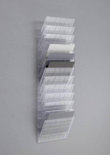 Durable 1709781400 - Revistero para pared (tamaño A4 horizontal, 12 compartimentos), color transparente