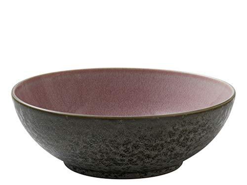 BITZ Salatschüssel, Schüssel/Schale aus Steinzeug, spülmaschinenfest, 30 cm im Durchmesser, grau/hellrot
