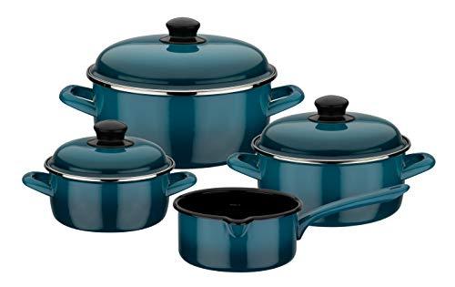GSW Batería de cocina Blue Shadow de 7 piezas, Acero esmaltado, azul