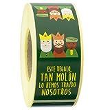 ETINOVA N14 - Etiquetas adhesivas, pegatinas, stickers, Navidad, regalos -'Tira Reyes Magos Precinto Bolsa' - Rollo de 250 piezas - 35x130 mm