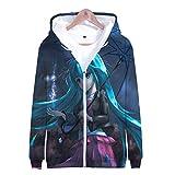 Anime 3D Printed Hatsune Miku Cosplay Gym Sports Jersey Unisex Hooded Zipper Jacket Sweatshirt Hoodie Costume Coat Tops 02 XXL