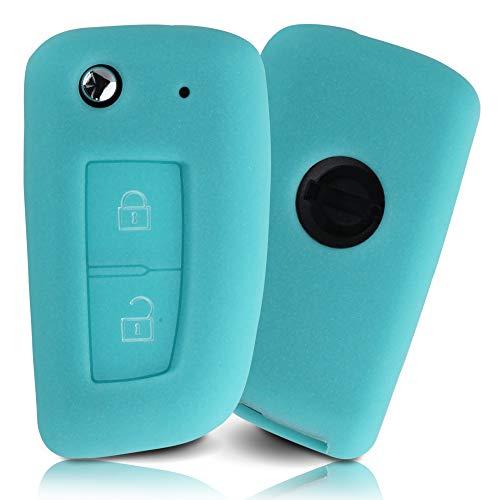 Tapa de la Llave Hecha de Silicona Premium Compatible con Nissan, Funda Protectora para Llaves de Coche Cubierta para el Tipo de Clave 2BKB - Azul Brillante