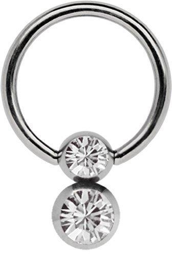 Modern Nature Piercing-Schmuck Intimpiercing Titan Ring in 1,2 x 9 mm mit klarer Doppel-Steinkugel in 5/6 mm Ø