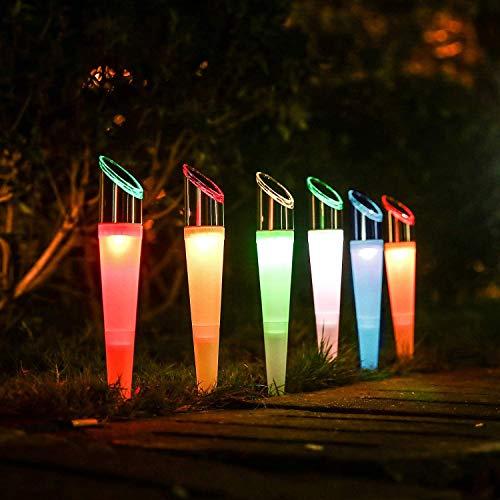 Solarlampen für Außen Bunt LED Garten Solarleuchten Wasserdicht für Balkon Terrasse Rasen Hofweg Solar-Wegebeleuchtung Winterfest, 2 Modi, Weiß and RGB Farbwechsel, Edelstahl&Kunststoff (6 Stück)