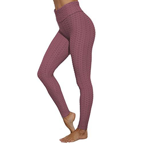 SotRong Damen Strukturierte Hohe Taille Sport Legging Fitness Laufhose Abnehmen Dünne Yogahosen Dunkelpink S