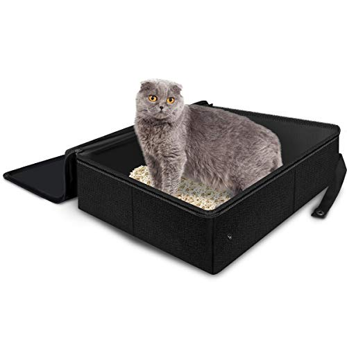 Adkwse Katzenklo Faltbare, Katzentoilette Tragbare, Katzen Toilette Reise, Wasserdichte Haubentoilette mit Haube Speichern für Indoor Outdoor