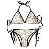 zhkx Bikini Leopard-Print-Seamless-Pattern-On-Light Bikini Set Two Piece,Triangle Padded Cut out Swimsuit for Ladies Swimming Costume