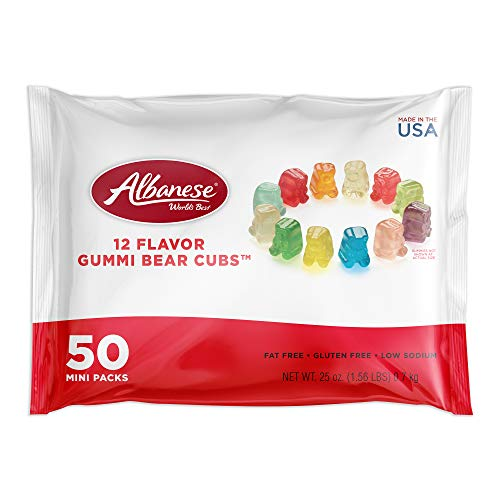 Albanese 12 Flavor Gummi Bear Cubs Mini Packs, 50 Count
