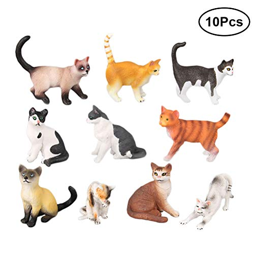 Katze Figur Spielzeug Kunststoff Katze Tierfiguren Miniatur Garten Dekoration Desktop Dekor - Packung mit 10 Stück
