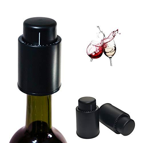 HaoBon - Tapón de vino al vacío, lote de 2, plástico ABS para botella de vino con bomba de vacuum, regalo especial para todos los amantes del vino, Wine Stopper (negro)