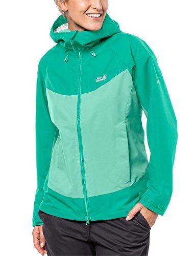 Jack Wolfskin Damen North Ridge Women Atmungsaktiv Wasserdicht Winddicht Outdoor Funktionsjacke Wanderjacke Regenjacke Wetterschutzjacke, Pale Mint, XL