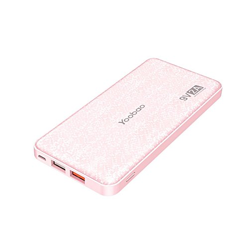 Yoobao Portable Charger 12000mAh Ultra Slim Power Bank Q12 Qualcomm Quick Charge 3.0 External Battery Pack Fast Charge Powerbank Compatible Samsung S8/S8+ iPhone X/8/8+ Huawei Google LG and More-Pink