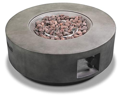 MDA Designs FUSION Dark Grey Lavish Garden & Patio Gas Fire Pit with Eco-Stone Finish – Fully Assembled