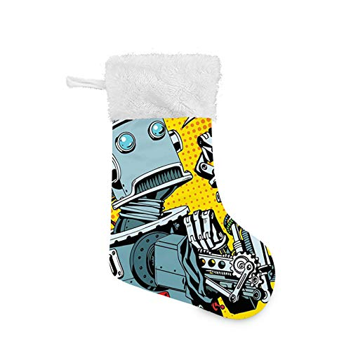 FULIYA Christmas Party Table Decoration,Retro, Pop Art Futuristic Robot with Comic Strip We Can Do It Digital Times Graphic,Marigold Blue Grey,Family Holiday Party Gift Decoration