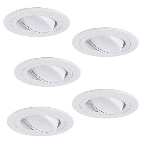 LED-Einbaustrahler 5er Set | Einbauleuchte weiß rund | Einbauspot schwenkbar 3fach dimmbar | Decken-Einbaustrahler universell einsetzbar | Deckenspot Switchmo + 5x 5W 3000K LED-Leuchtmittel