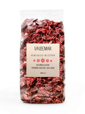 Valdemar Manufaktur essbare Premium HIBISKUS-Blüten, 500ml (Rosella) - HANDVERPACKT In Deutschland