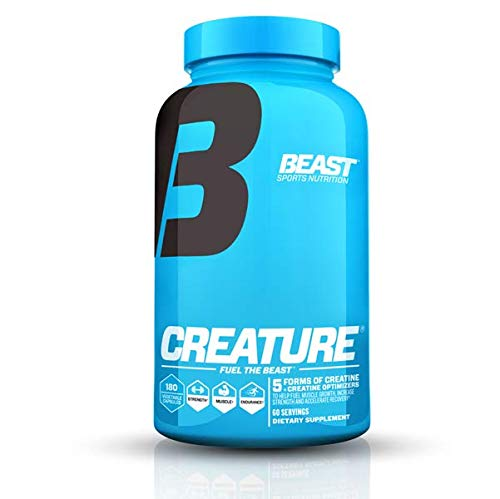 Beast Sports Nutrition – Creature Creatine Complex – Fuel Muscle Growth – Optimize Muscle Strength – Enhance Endurance – Boost Recovery – 5 Forms of Creatine Monohydrate – 60 Servings – 180 Capsules
