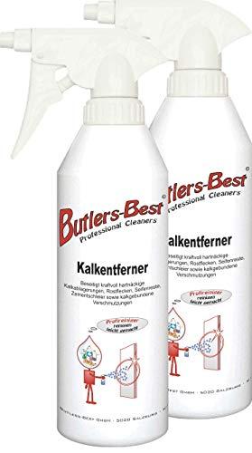 Kalkentferner - für den Badbereich (Duschwände, Fliesen, Glas, usw.) - 2 x 500 ml Sprühflasche