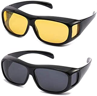 Yash Ultra Series HD Vision Unisex Wrap Arounds Day Night Sun Glasses UV Protected (Pack of Two) Black and Yellow Glass