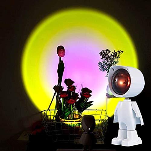 LTJT-MR Sonnenuntergang Projektion LED-Licht, Roboter Figur Regenbogen Bodenständer Moderne Romantische Lampe USB Aufladen Nachtlicht für Schlafzimmer Romantischen Projektor Geschenk(Sonne)