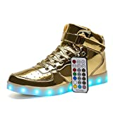 Voovix Kids LED Light Up Shoes USB Rechargeable Flashing High-top Sneakers with Remote Control for Boys and Girls(Gold,US2/CN34)