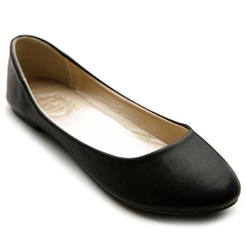 Ollio Women's Shoe Ballet Basic Light Comfort Low Heel Flat M1009 (8.5 B(M) US, Black)