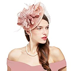 Fascinator Hat Material: Mesh, organza and feather; Size: this vintage style feather veil headband is free size with hair clip and fits all women. This fascinator hat is actually 3 pieces, the fascinator and hair clip are detachable from the headband...